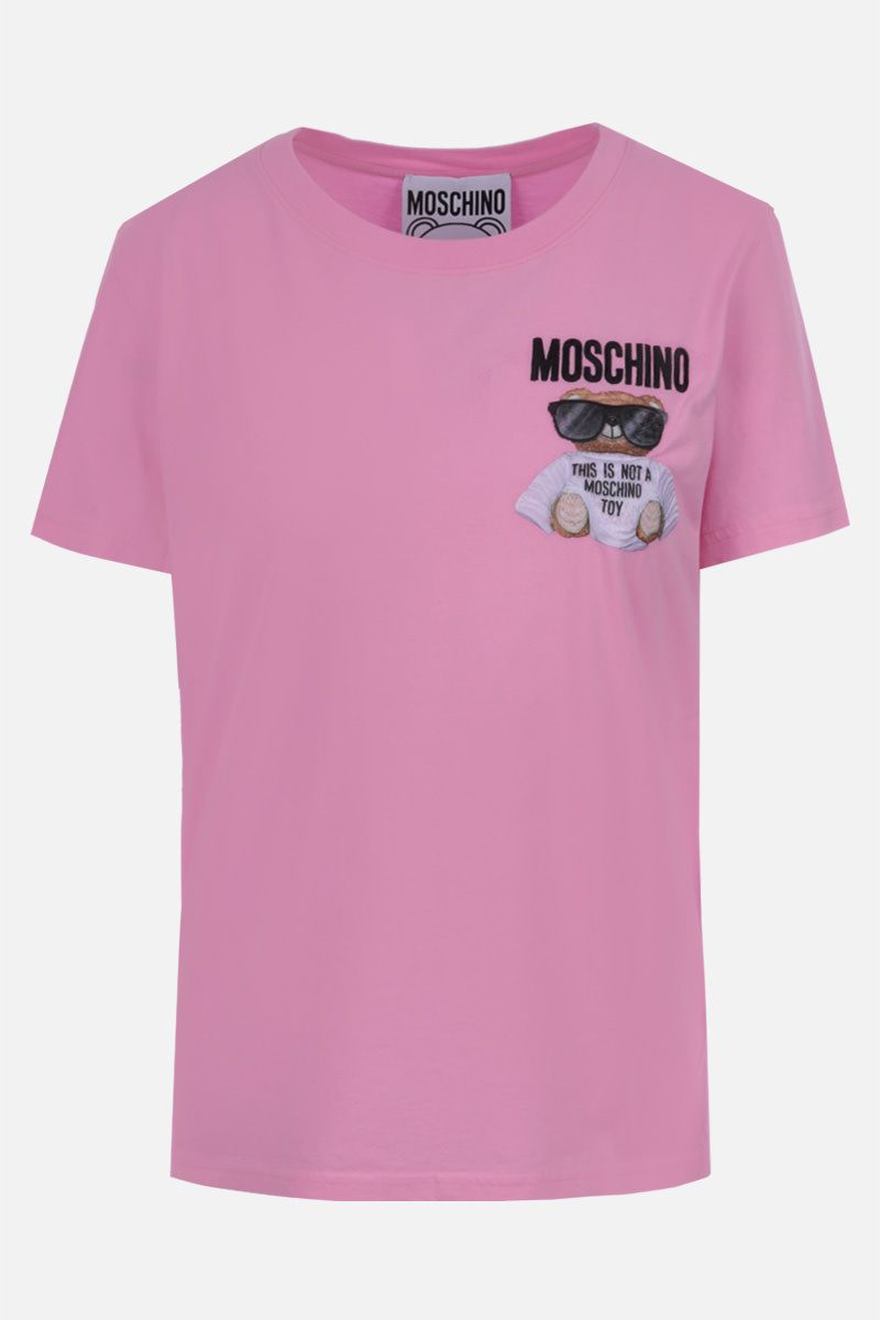 MOSCHINO: t-shirt in cotone patch Micro Teddy Bear_1
