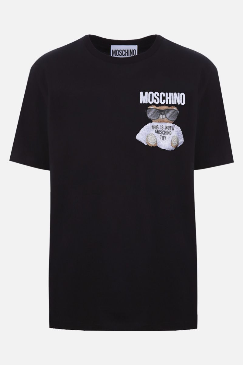 MOSCHINO: t-shirt in cotone patch Micro Teddy Bear Colore Multicolore_1