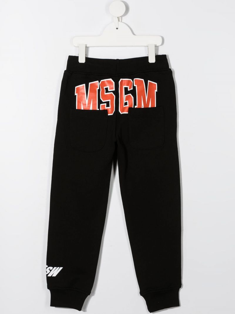 MSGM KIDS: MSGM print cotton joggers Color Black_2