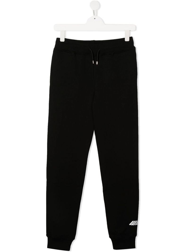 MSGM KIDS: MSGM print cotton joggers Color Black_1