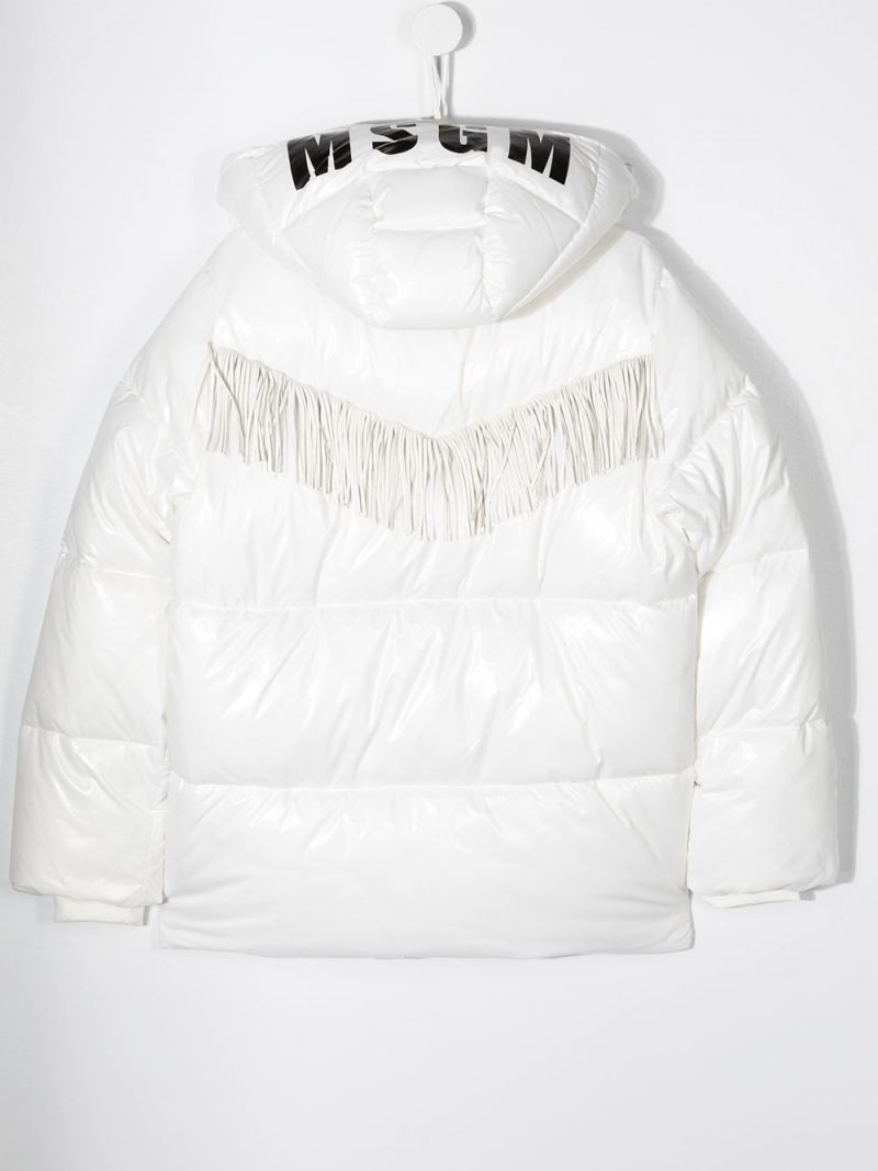 MSGM KIDS: logo print nylon padded jacket Color White_2