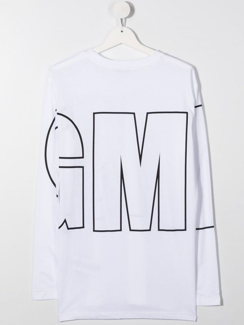 MSGM KIDS: logo print cotton long-sleeved t-shirt Color White_2