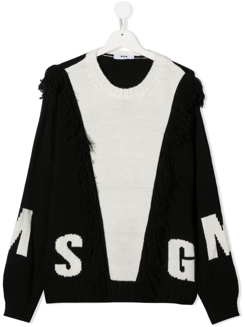 MSGM KIDS: MSGM intarsia wool blend pullover Color White_1