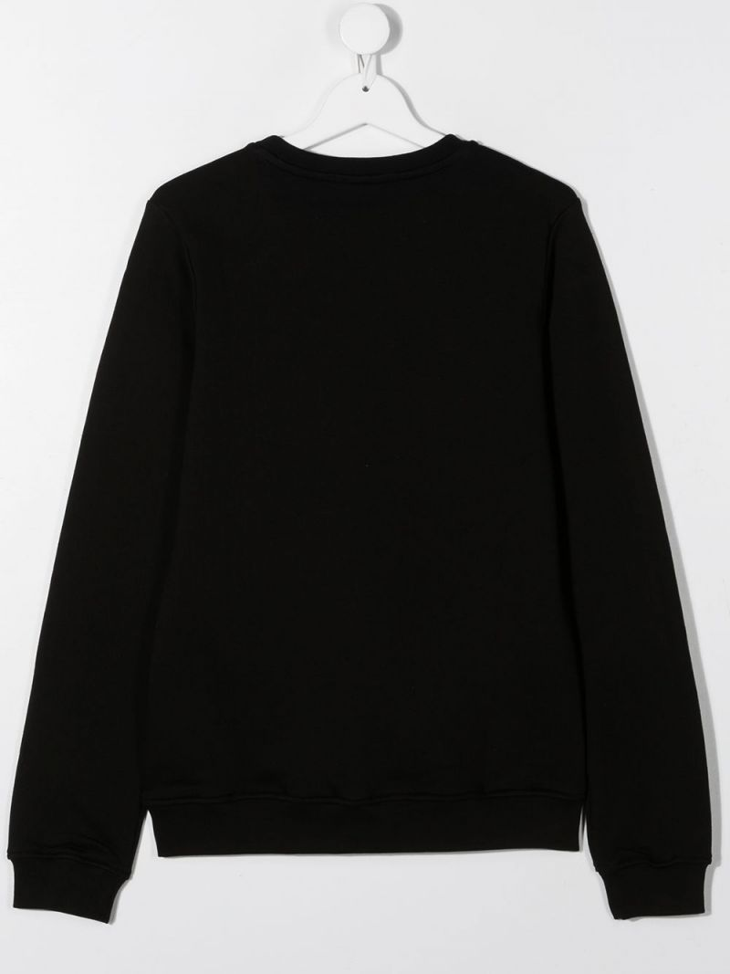 MSGM KIDS: MSGM embroidered cotton sweatshirt Color Black_2