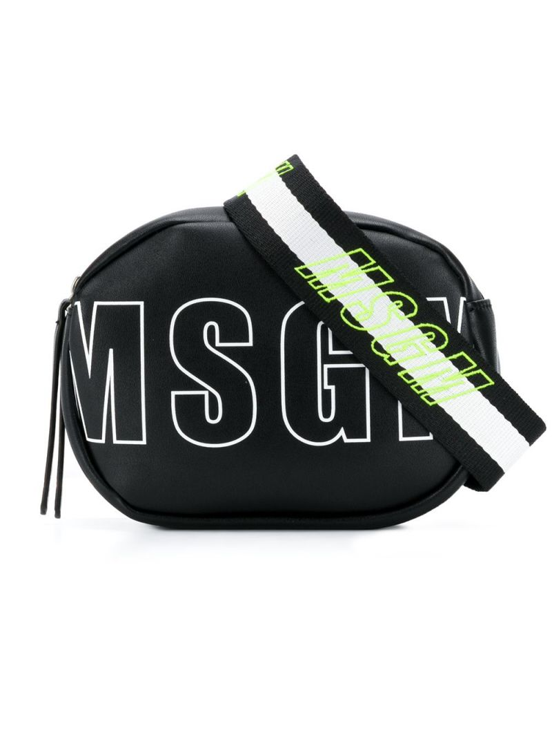 MSGM KIDS: MSGM faux leather belt bag Color Black_1