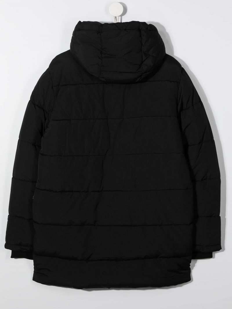 MSGM KIDS: logo-detailed nylon padded jacket Color Black_2