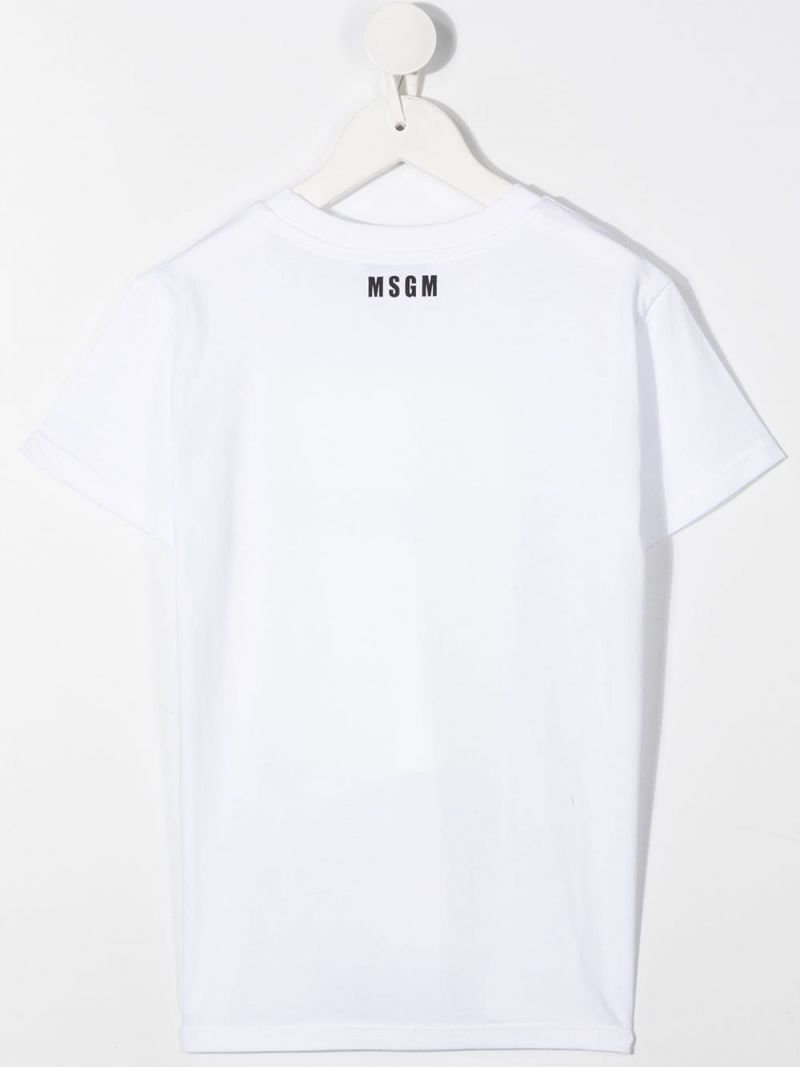 MSGM KIDS: graphic logo print cotton t-shirt Color Multicolor_2