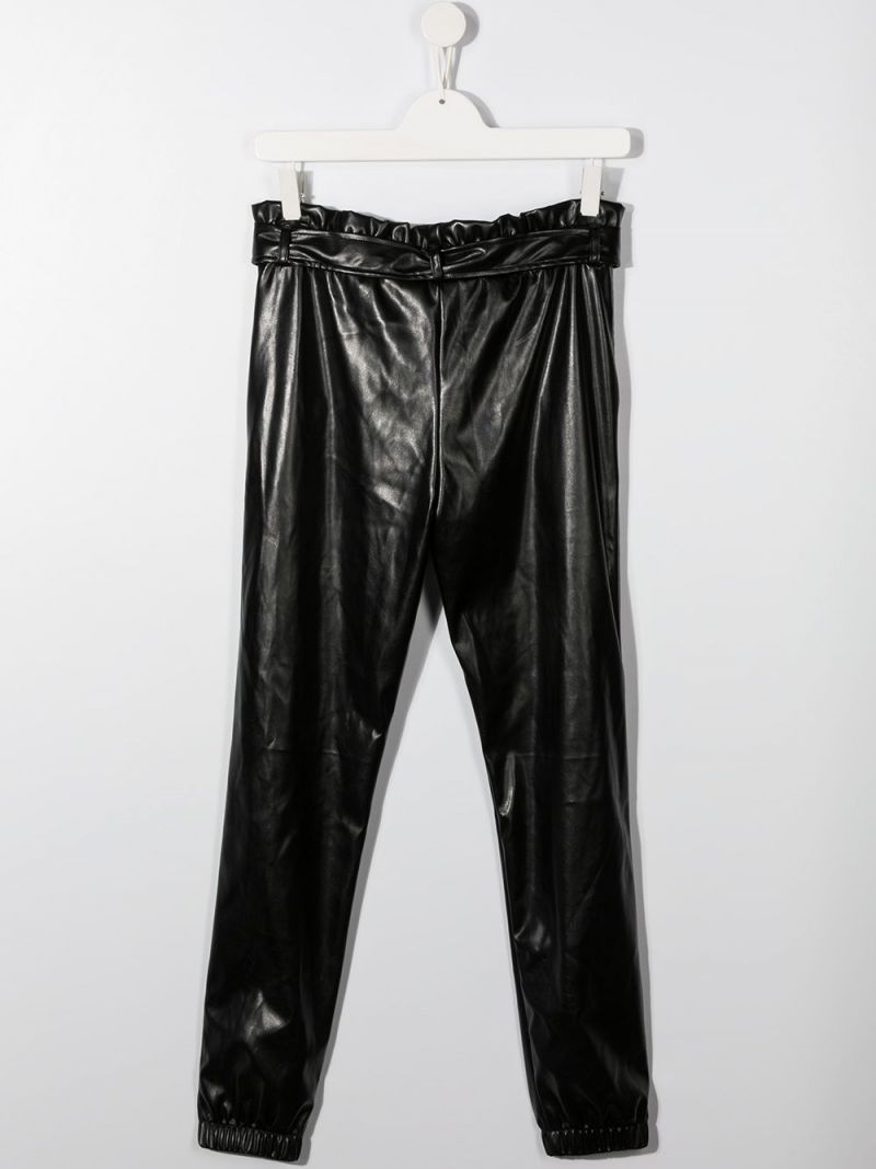 MSGM KIDS: belt-detailed faux fur joggers Color Black_2
