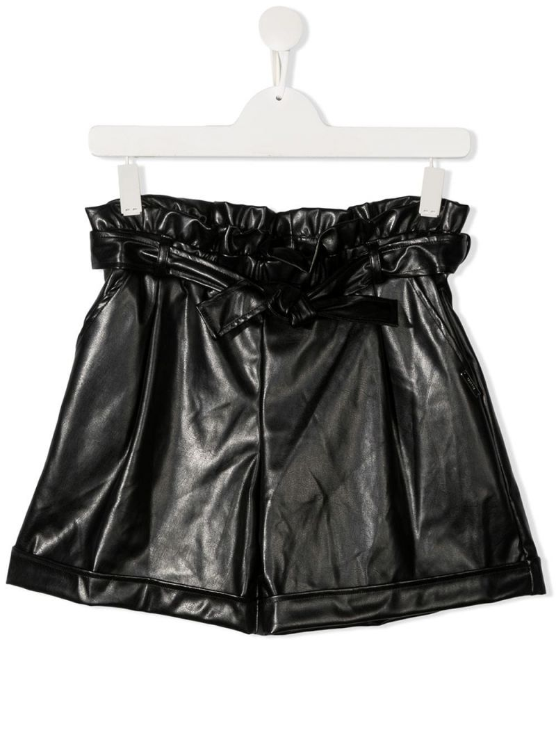 MSGM KIDS: faux leather high-waist shorts Color Black_1