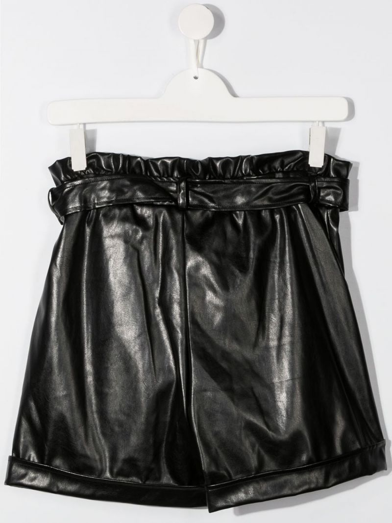 MSGM KIDS: faux leather high-waist shorts Color Black_2