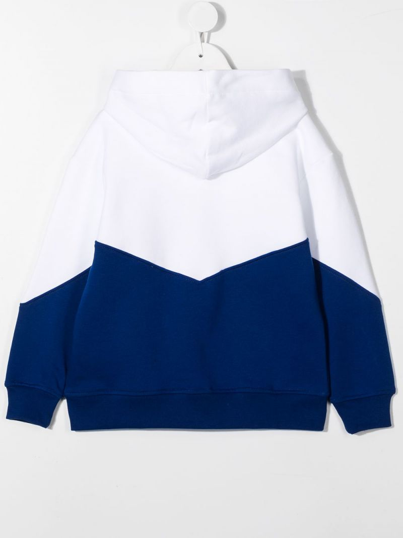 MSGM KIDS: logo print colour-block cotton hoodie_2
