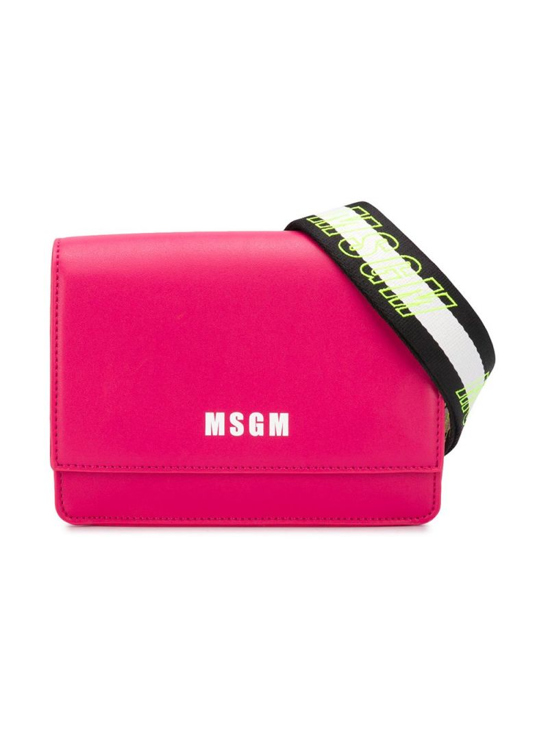 MSGM KIDS: logo print faux leather crossbody bag Color Red_1