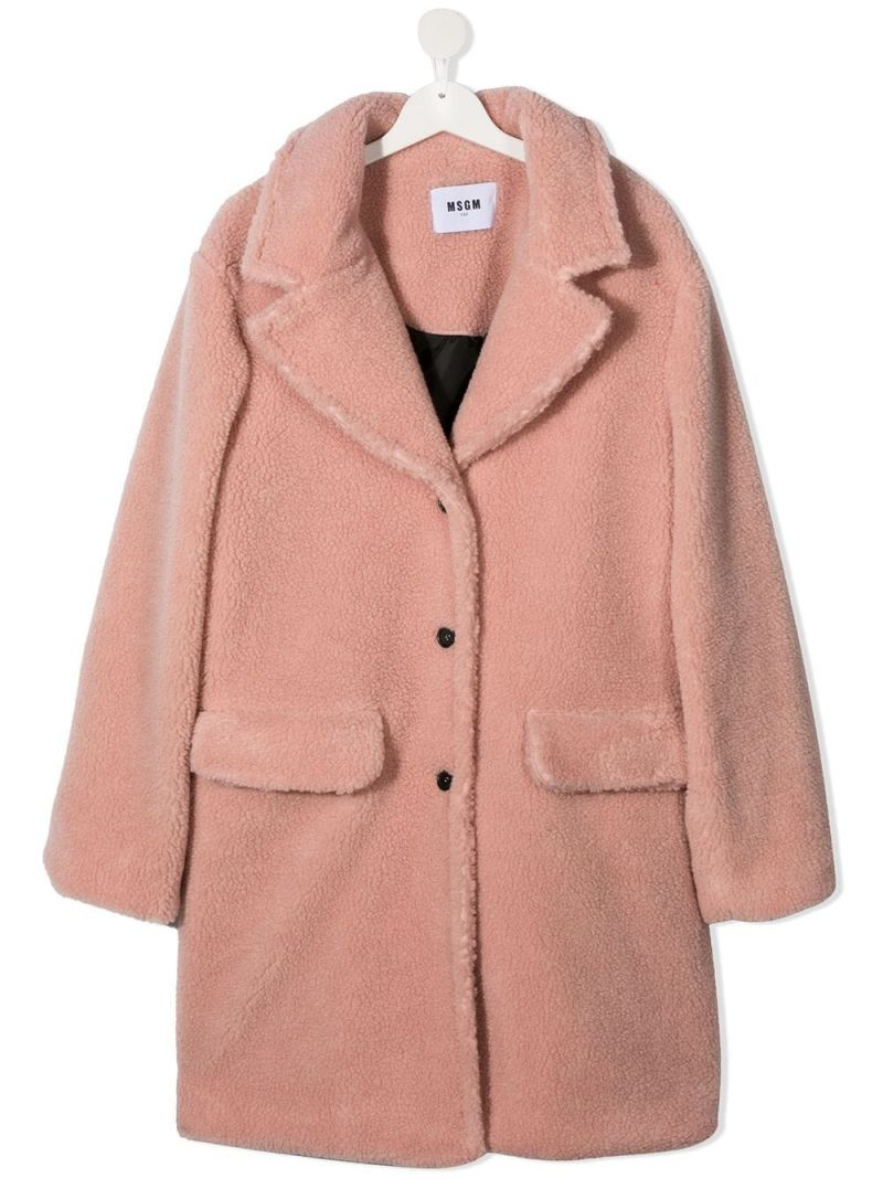 MSGM KIDS: single-breasted faux fur coat Color Neutral_1