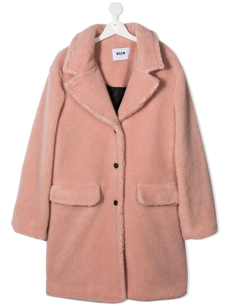 MSGM KIDS: single-breasted faux fur coat Color Pink_1