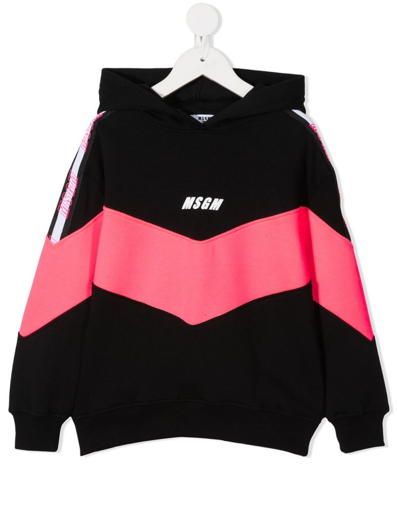 MSGM KIDS: logo print colour-block cotton hoodie Color Multicolor_1
