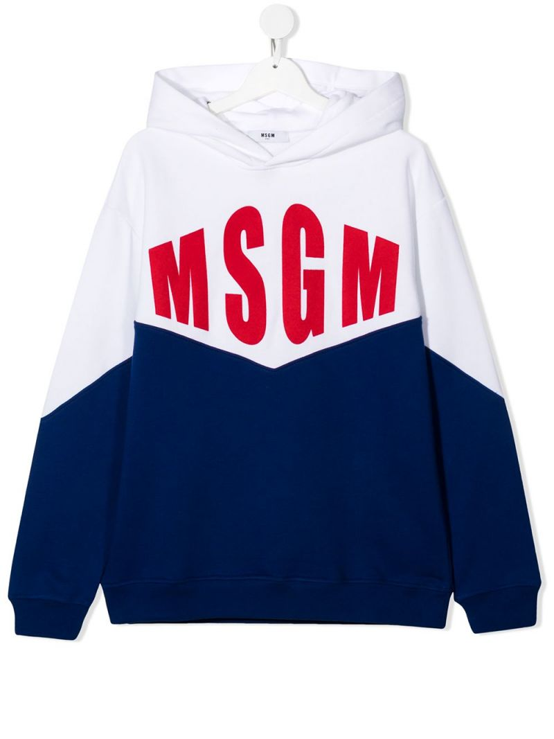 MSGM KIDS: logo print colour-block cotton hoodie_1