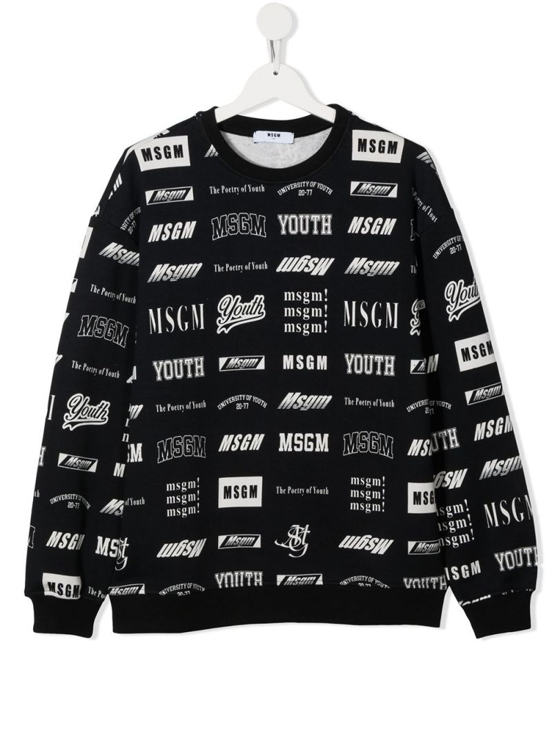 MSGM KIDS: logo print cotton sweatshirt Color Black_1