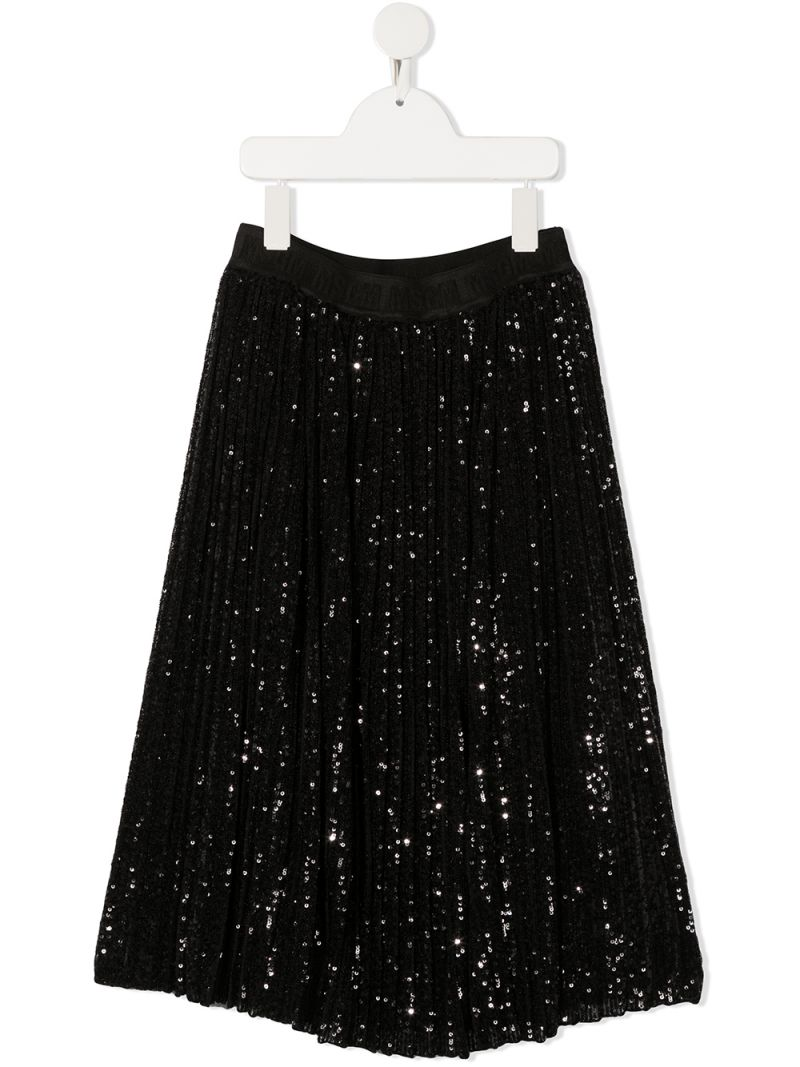 MSGM KIDS: sequinned tulle pleated skirt Color Black_1