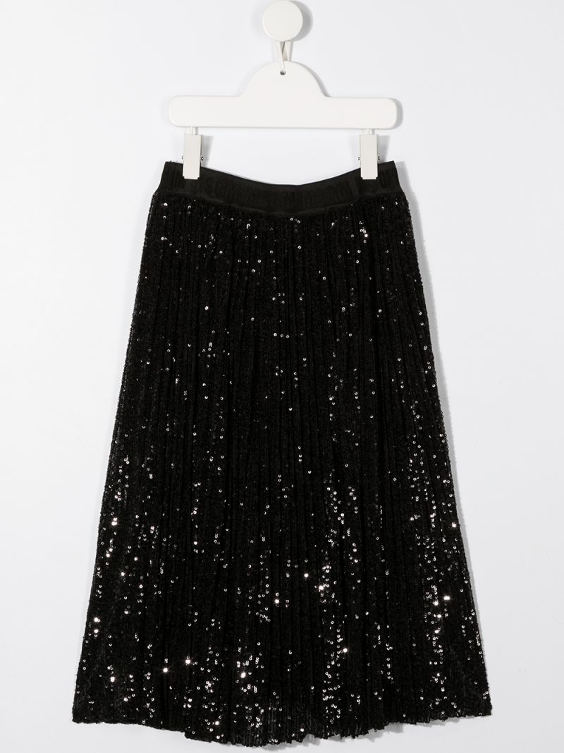 MSGM KIDS: sequinned tulle pleated skirt Color Black_2