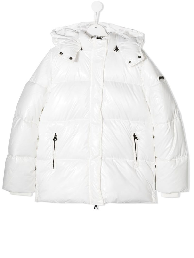 MSGM KIDS: logo print nylon padded jacket Color White_1