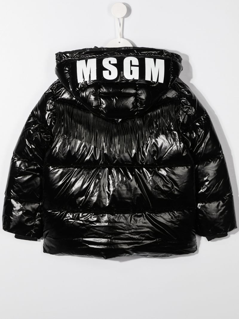 MSGM KIDS: logo print nylon padded jacket Color Black_2