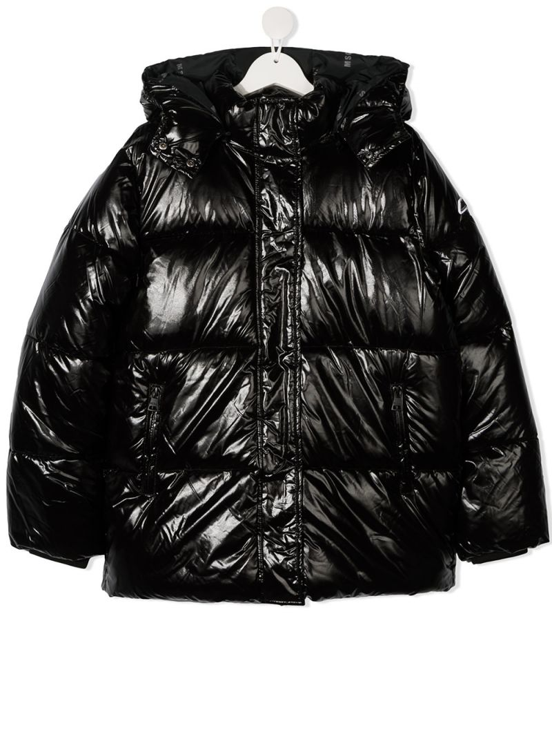 MSGM KIDS: logo print nylon padded jacket Color Black_1