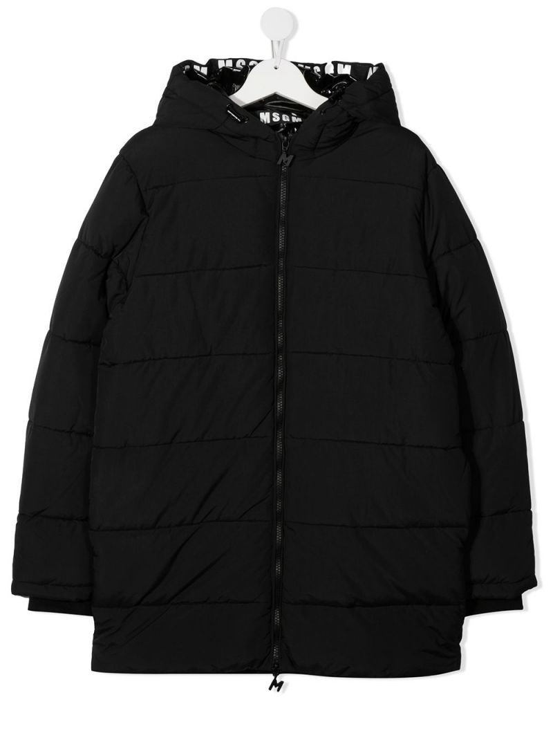 MSGM KIDS: logo-detailed nylon padded jacket Color Black_1