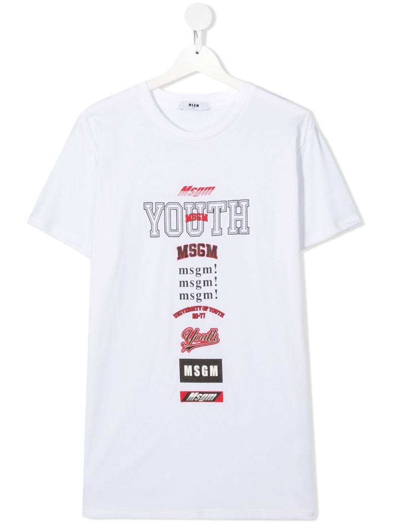 MSGM KIDS: Msgm Youth print cotton t-shirt Color White_1