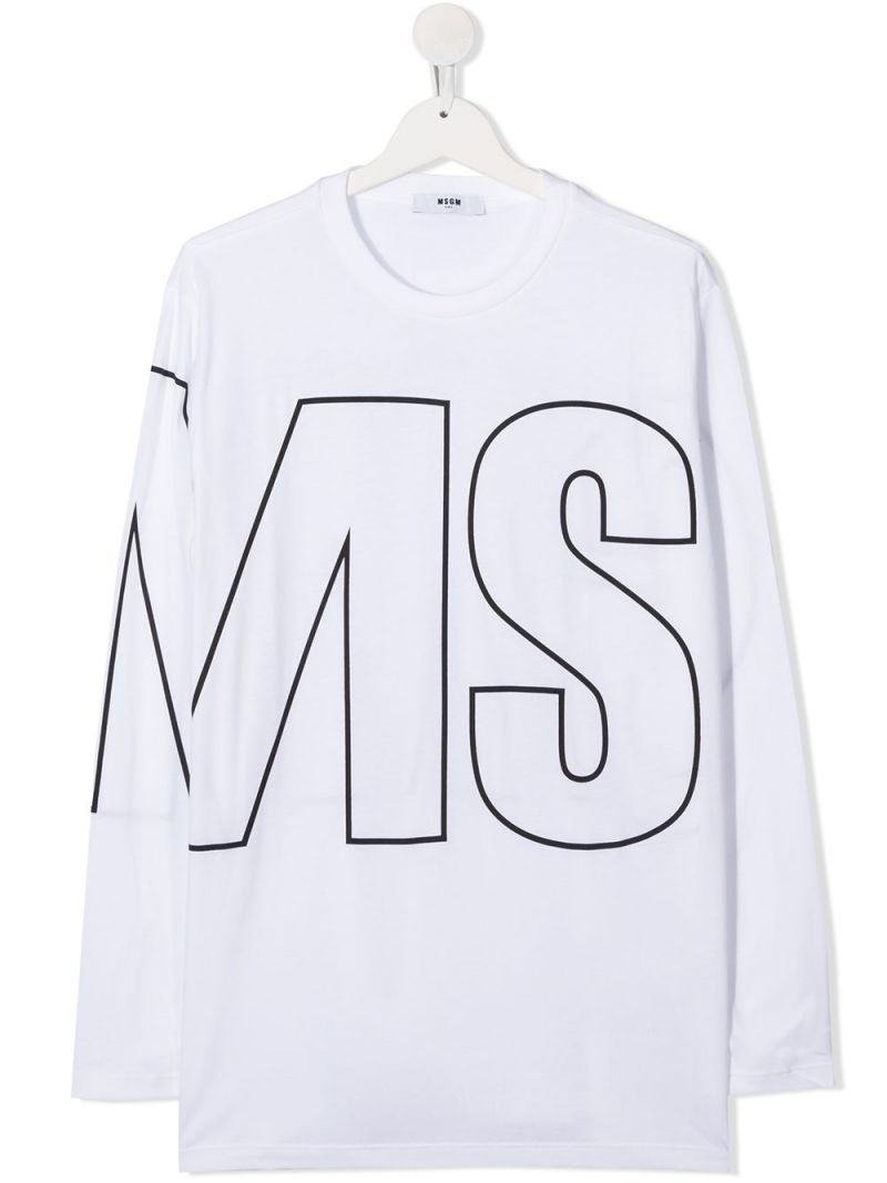 MSGM KIDS: logo print cotton long-sleeved t-shirt Color White_1