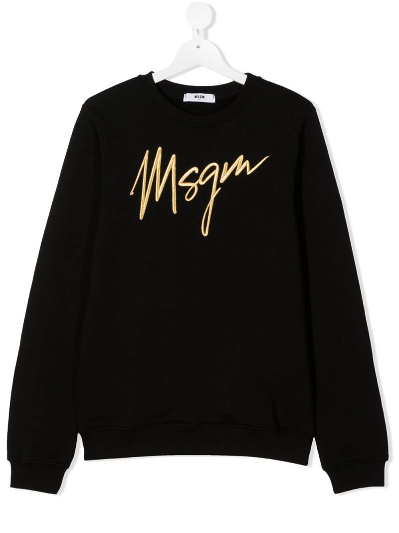 MSGM KIDS: MSGM embroidered cotton sweatshirt Color Black_1