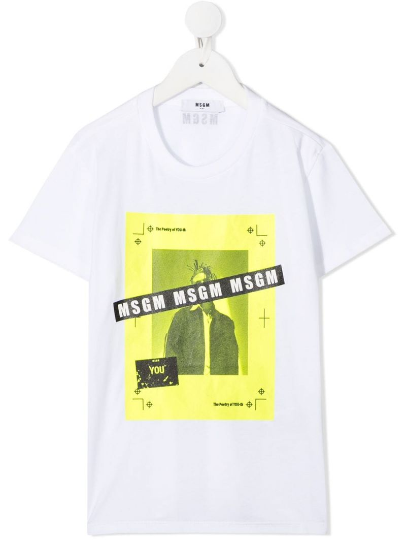 MSGM KIDS: graphic logo print cotton t-shirt Color Multicolor_1