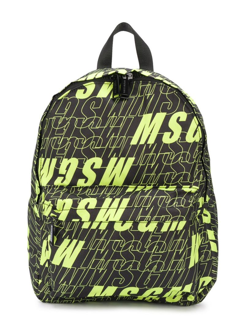 MSGM KIDS: logo print nylon backpack Color Black_1