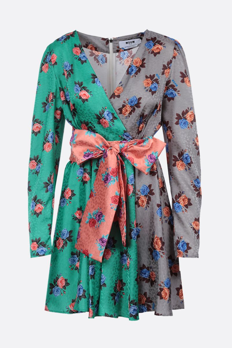 MSGM: floral print crepe wrap dress Color Multicolor_1