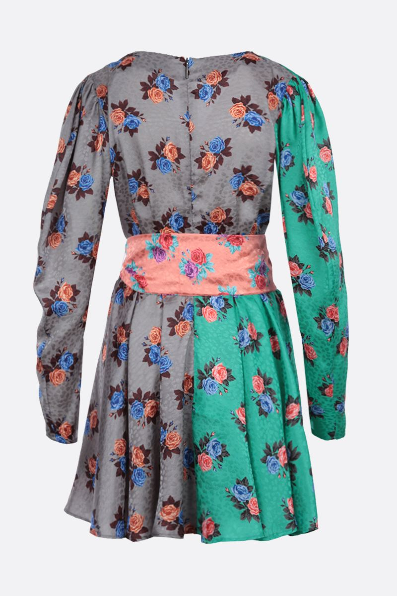 MSGM: floral print crepe wrap dress Color Multicolor_2