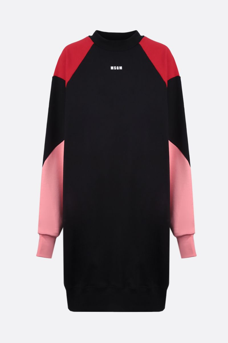 MSGM: MSGM print cotton sweatshirt dress Color Black_1