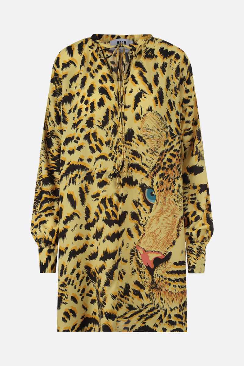 MSGM: Tiger print crepe de chine short dress Color Yellow_1