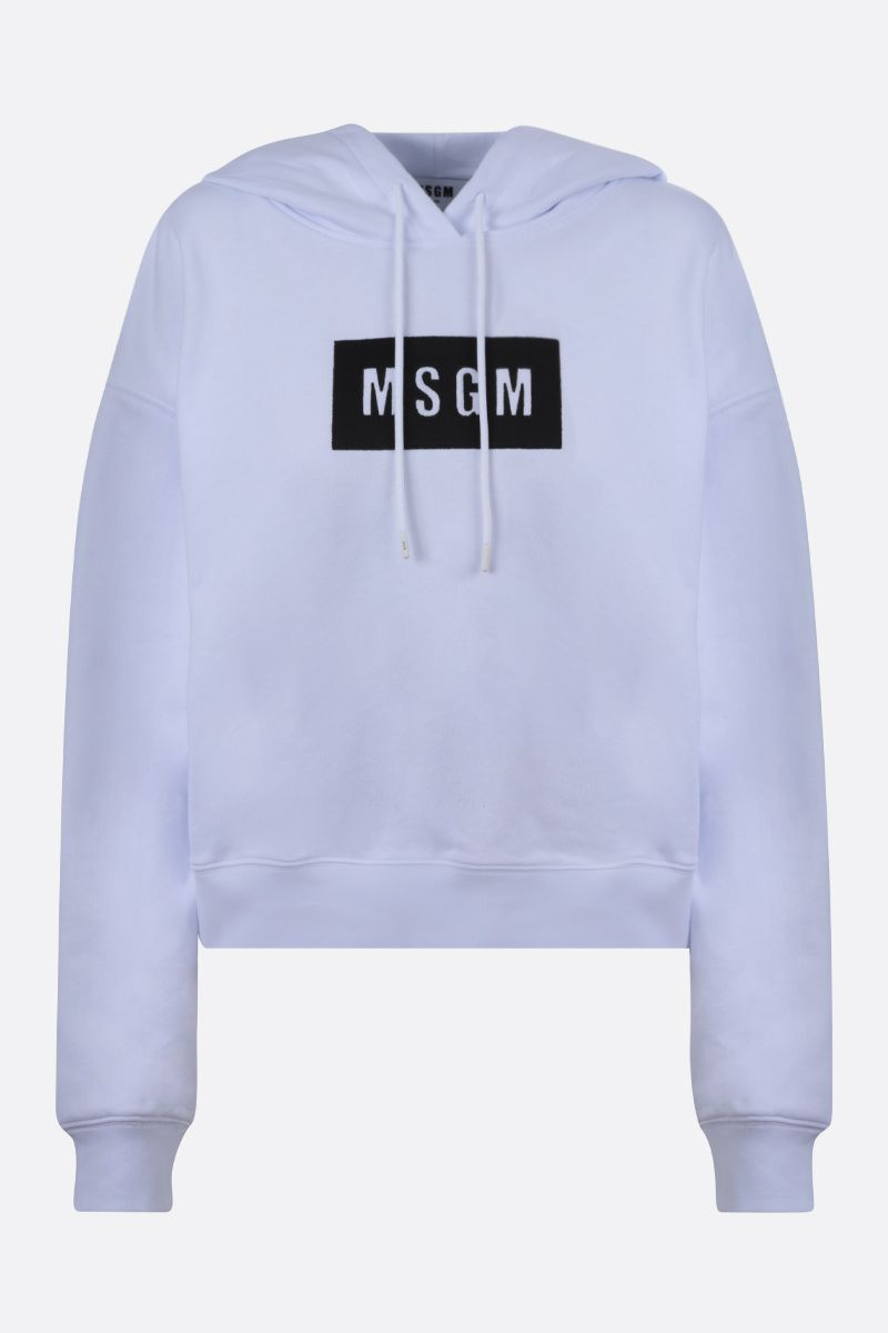 MSGM: MSGM box embroidered cotton cropped hoodie Color White_1