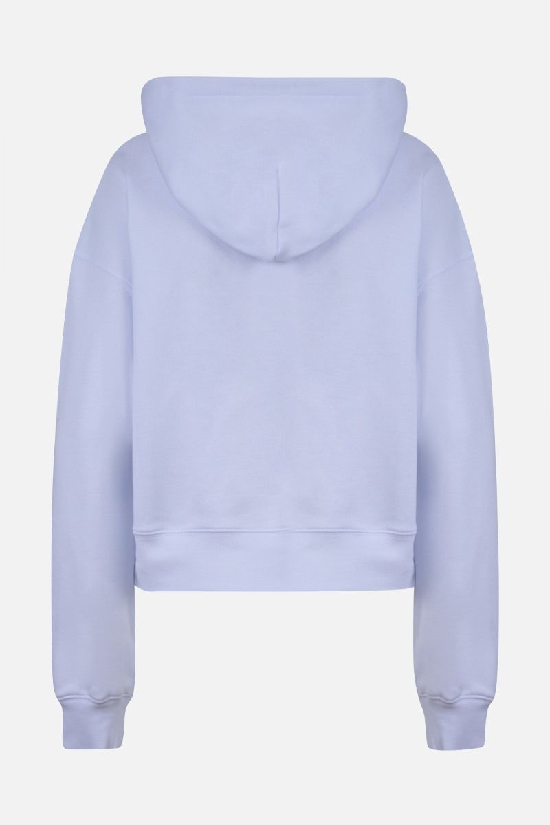 MSGM: MSGM box embroidered cotton cropped hoodie Color White_2