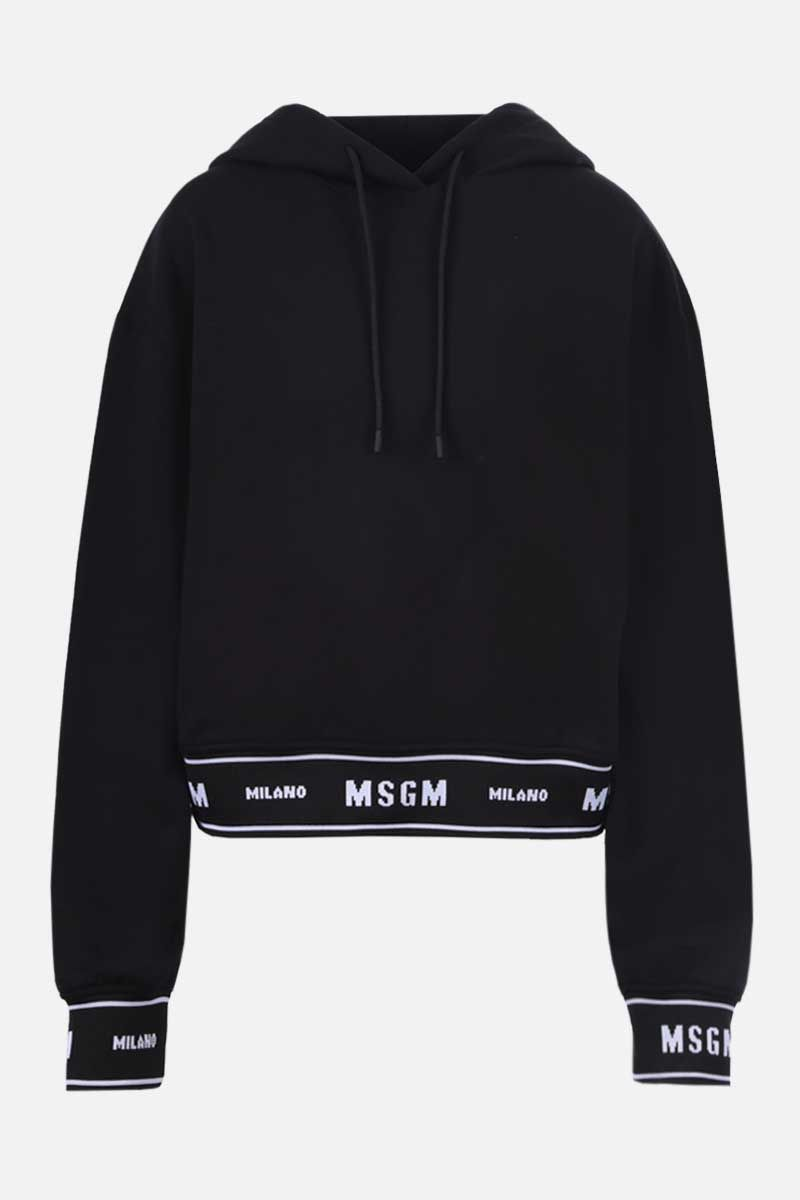 MSGM: logo-detailed cropped cotton hoodie Color Black_1