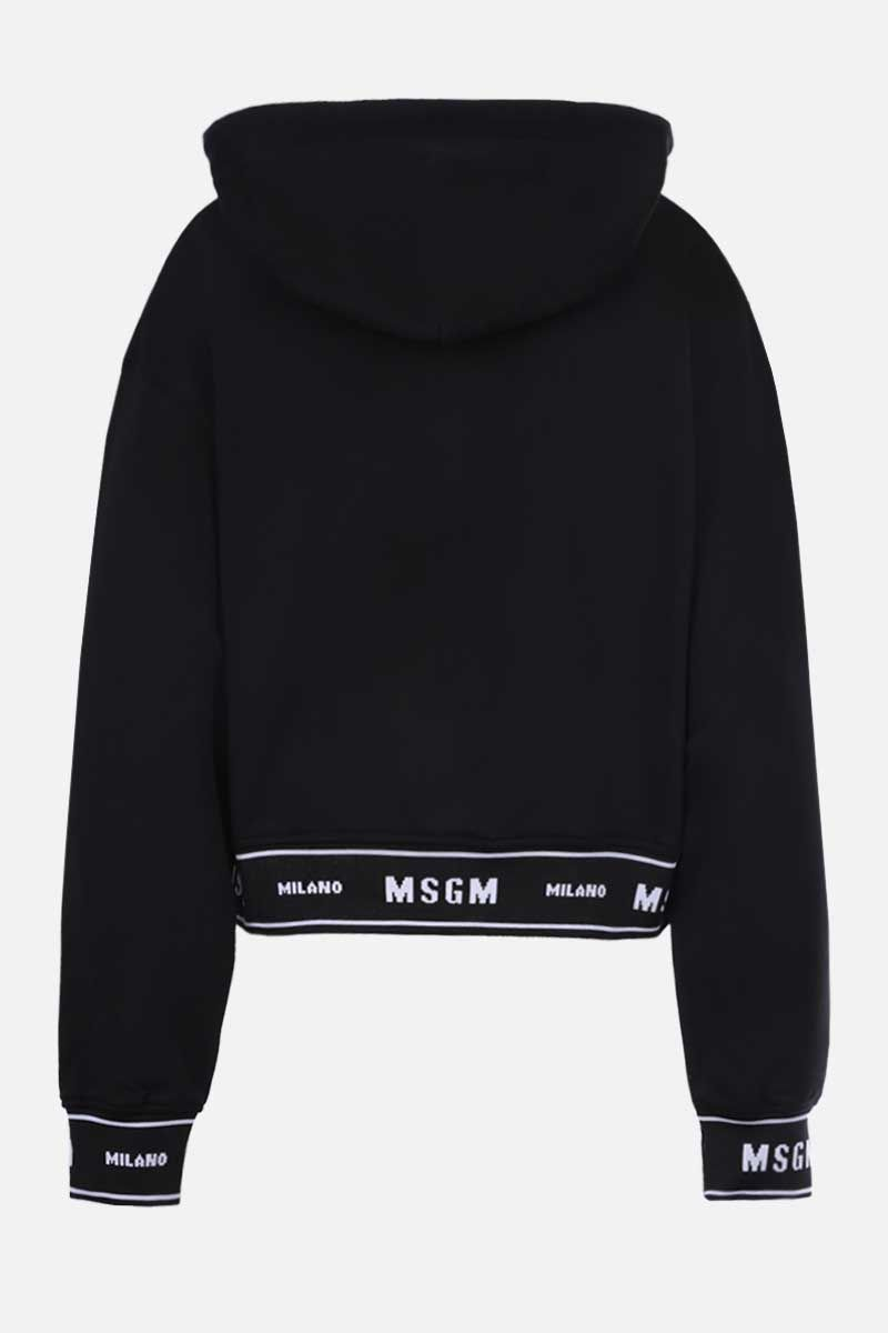 MSGM: logo-detailed cropped cotton hoodie Color Black_2