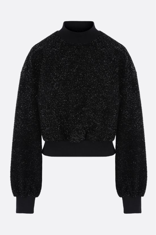 MSGM: boxy-fit lurex sweatshirt Color Black_1