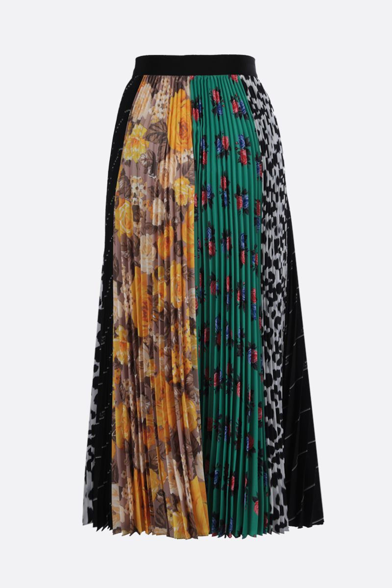 MSGM: patchwork print crepe de chine pleated skirt Color Multicolor_2