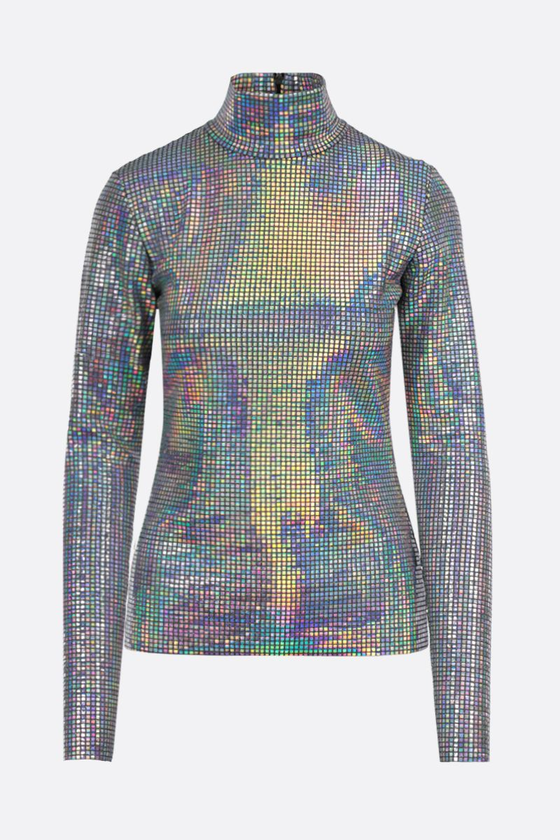 MSGM: iridescent facet-detailed lurex long-sleeved top Color Silver_1