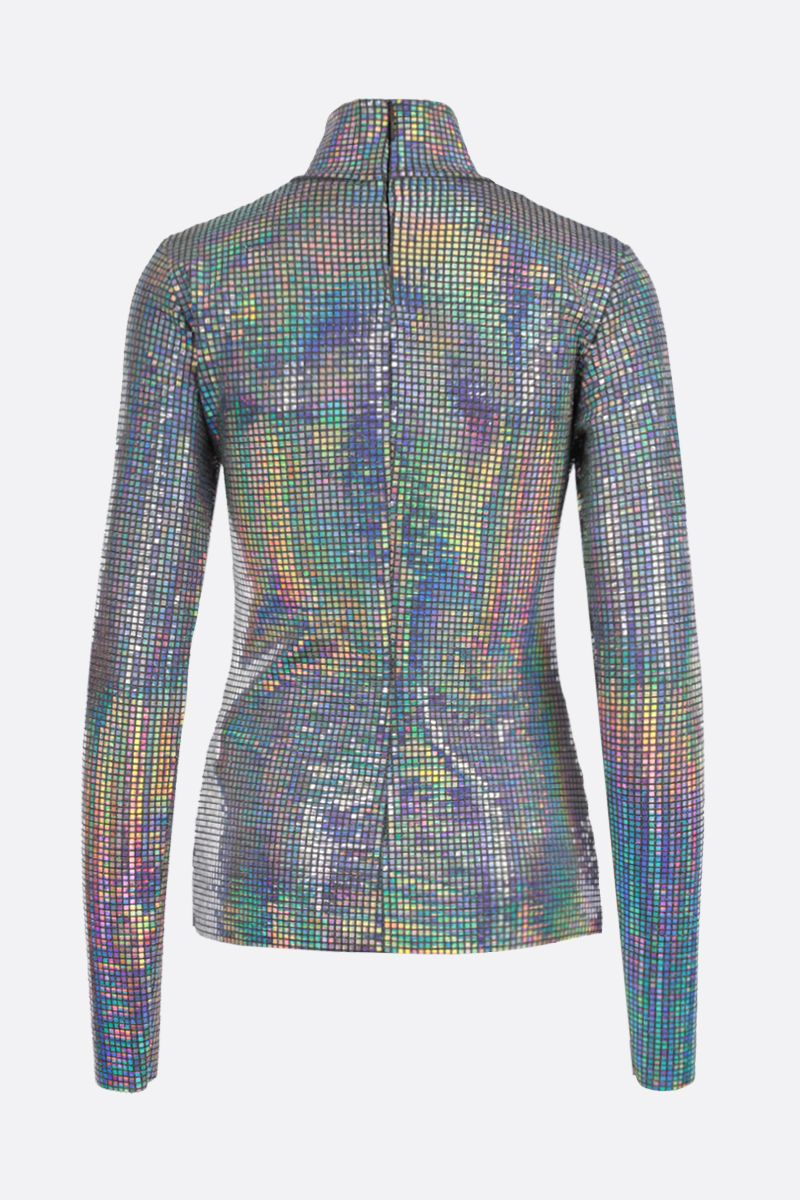 MSGM: iridescent facet-detailed lurex long-sleeved top Color Silver_2