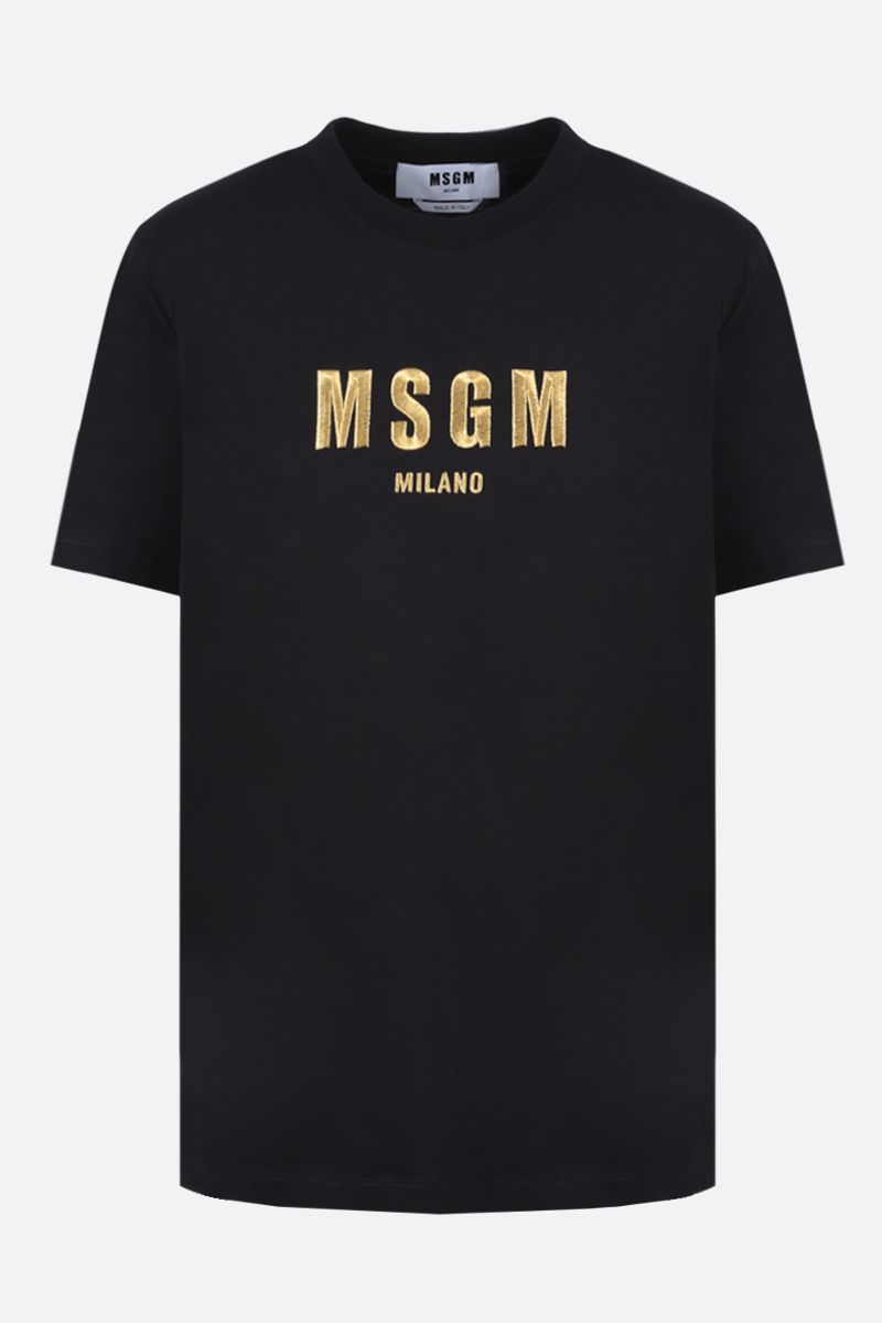 MSGM: MSGM Milano embroidered cotton t-shirt Color Black_1