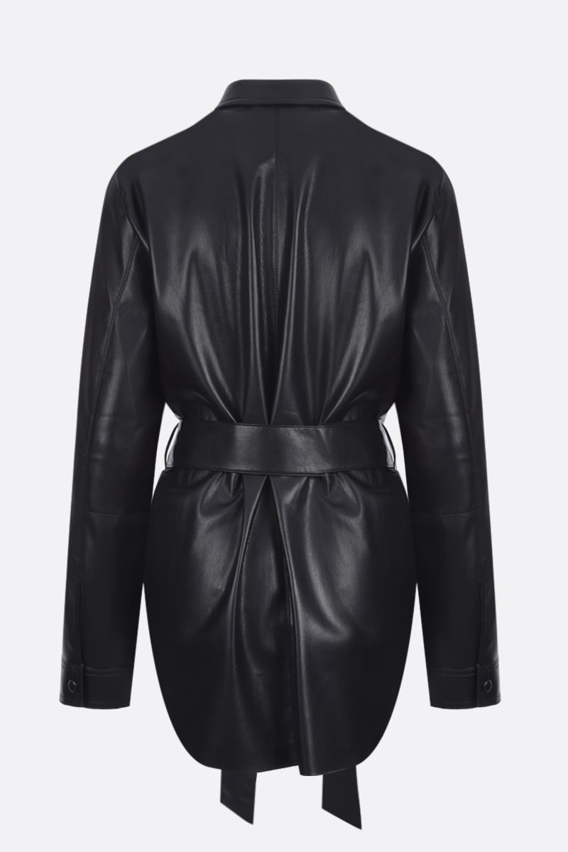 NANUSHKA: Artha vegan faux leather oversize shirt Color Black_2