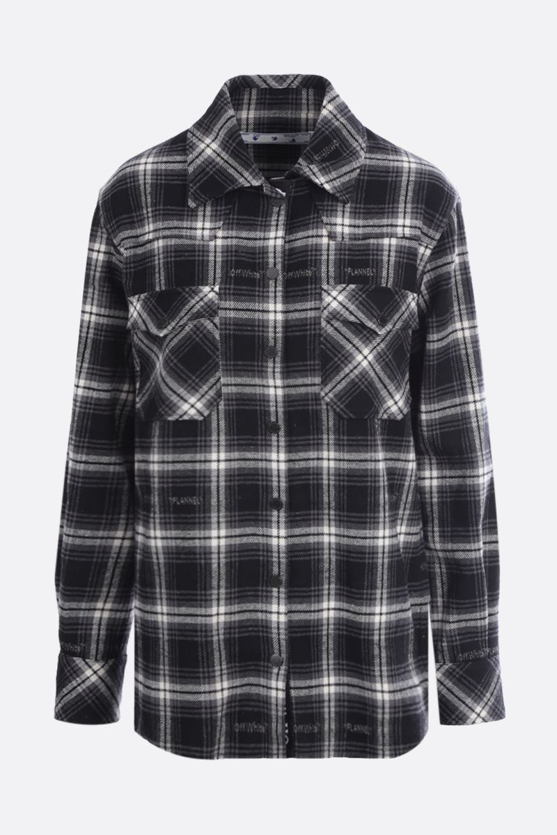OFF WHITE: check flannel boxy shirt Color Black_1