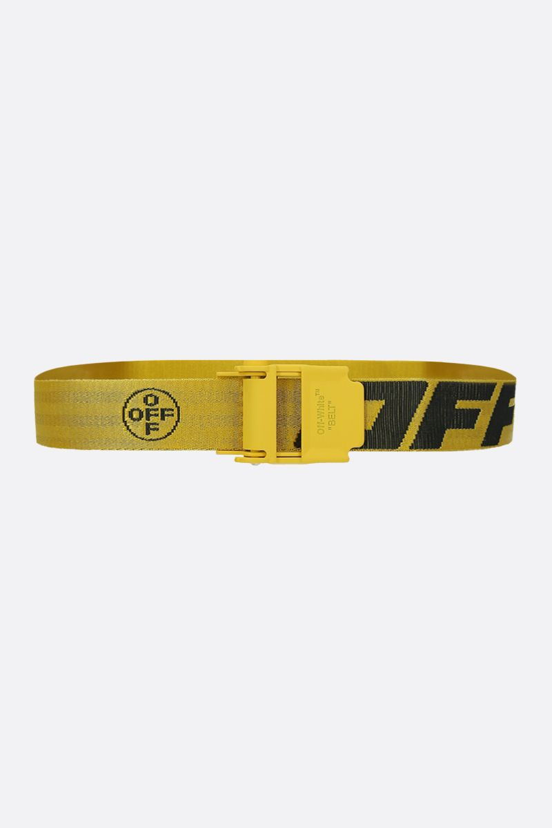 OFF WHITE: Industrial 2.0 logoed fabric belt Color Yellow_1
