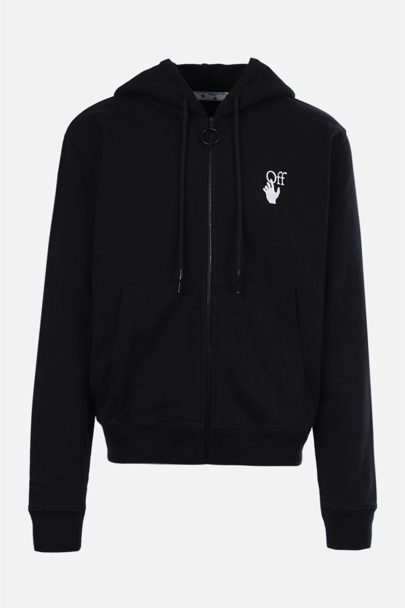 OFF WHITE: felpa full-zip Cut Here in cotone Colore Nero_1