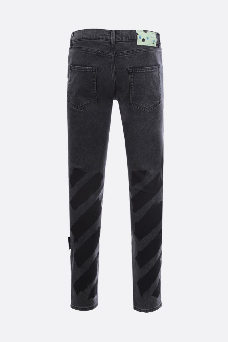 OFF WHITE: Diag skinny jeans Color Grey_2